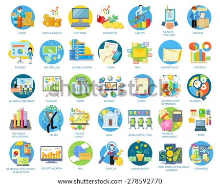 Set of busines round icons in different items such as business plan, statistics, business conference, planning, top mobile applications, earnings from mobile applications in flat on white background - stock vector