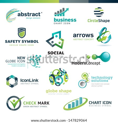 Set of business abstract icons - stock vector