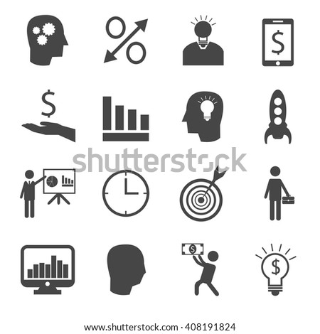 Set of 16 business and finance icons - stock vector