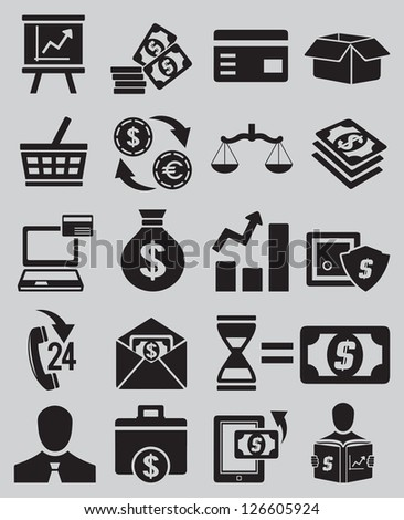 Set of business and money icons - part 1 - vector icons - stock vector