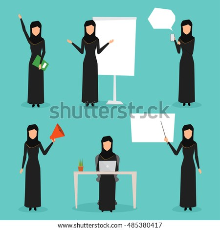 Set of business arab woman character with hijab. people character flat design.