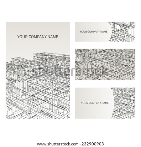 Set business card invitation card templates stock vector royalty set of business card and invitation card templates architecture and construction concept vector design stopboris Gallery