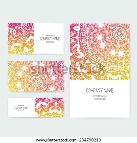 Set of business card and invitation card templates with lace ornament. Vector background. Indian, Arabic, Islam motifs. Vintage design elements. Wedding or save the date hand drawn background.  - stock vector