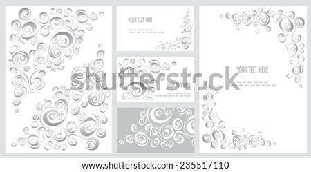 Set of business card and invitation card templates with lace ornament. Vector background. Indian, Arabic, Islam motifs. Vintage design elements - stock vector