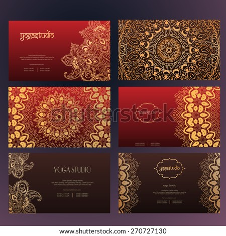Set of business card and invitation card templates with lace ornament. Yoga center. Indian, Islam, Arabic, ottoman motifs. Vintage design elements, or save the date hand drawn background. - stock vector