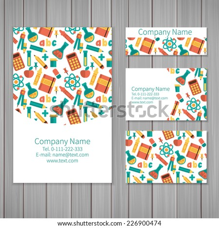Set of business card and invitation card templates with pattern of scientific. Vector background. Calculator, tube, molecules, pencils and other objects. - stock vector