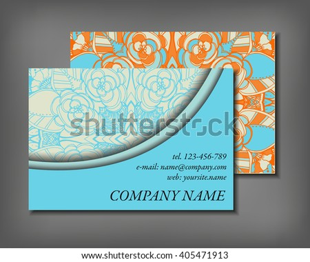 Set of business card template, abstract elegant pattern vector design editable. Hand drawn background. Islam, Arabic, Indian, ottoman motifs.
