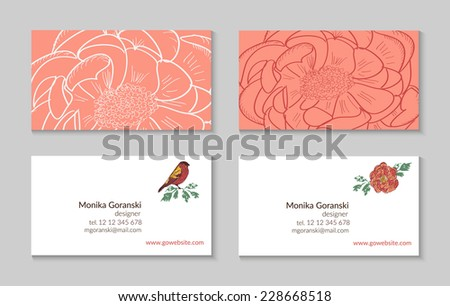 Set of business card template designs. Bright, fresh editable design with hand drawn elements: peonies and birds. Proportionally: 50x90 mm - stock vector
