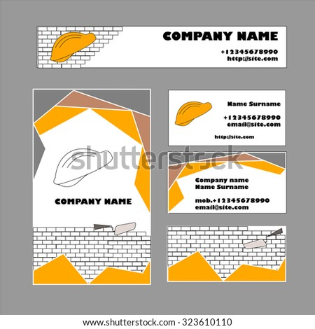 Set Business Card Template Construction Business Stock Vector - Construction business card template