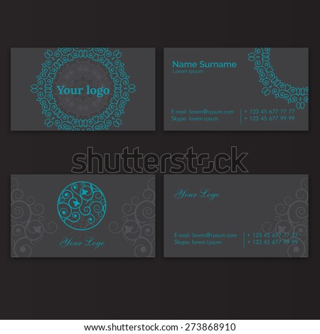 Set of business card with floral circle arabic ornament - stock vector
