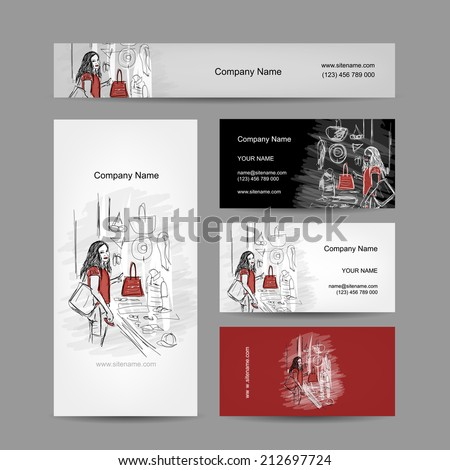 Set of business cards design, girl near the storefront. Vector illustration - stock vector