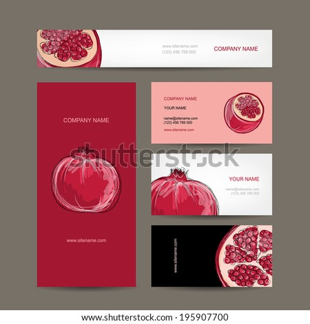 Set of business cards design, pomegranate sketch - stock vector