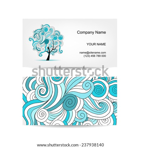 Set of business cards design with art tree, vector illustration - stock vector