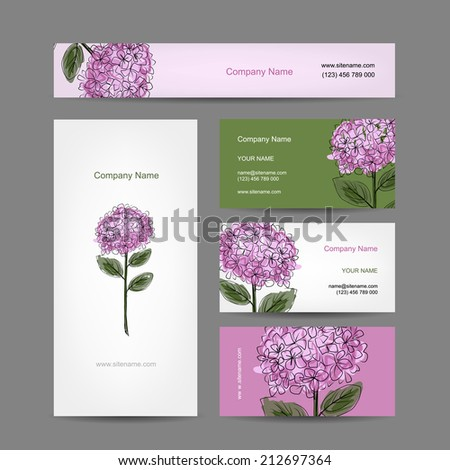 Set of business cards design with hydrangea flower, vector illustration - stock vector