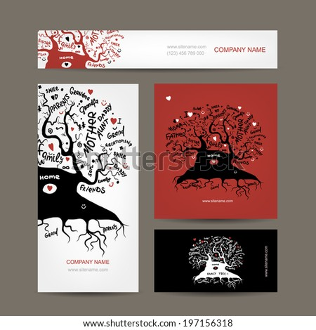 Set of business cards design with old family tree - stock vector