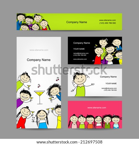 Set of business cards design with party girls. Vector illustration - stock vector