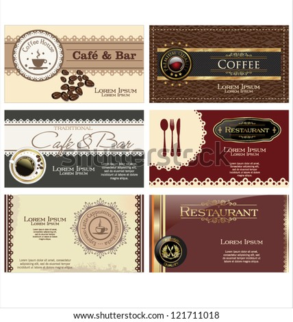 Set of 6 business cards. For cafe and restaurant - stock vector
