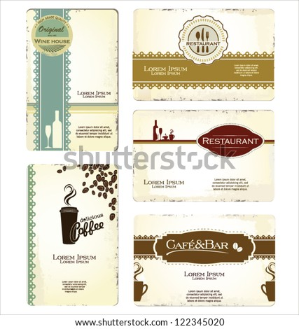 Set of 5 business cards for cafe and restaurant - stock vector