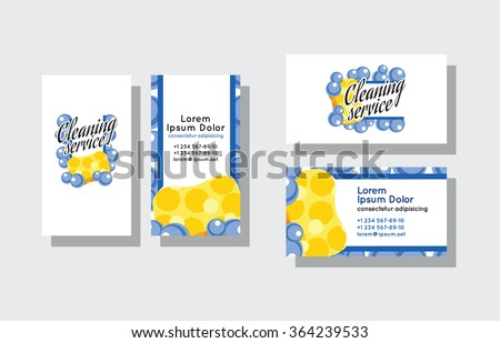 Set of business cards for cleaning service