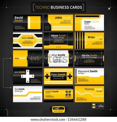 Set of 15 business cards in techno style. - stock vector