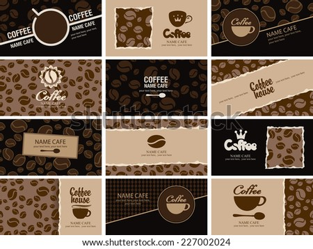 set of business cards on coffee house - stock vector