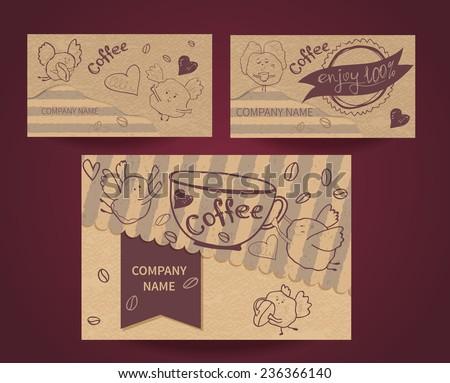 Set of business cards on coffee house, coffee shops, restaurants, cafes and caffeine. Vector illustration