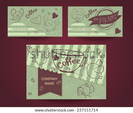 Set of business cards on coffee house, coffee shops, restaurants, cafes and caffeine. Vector illustration - stock vector