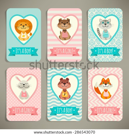 Set of business cards or invitations. It's a girl! It's a boy! - stock vector