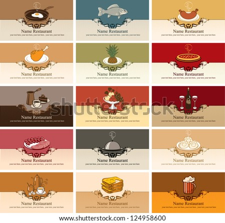 set of business cards with different dishes - stock vector