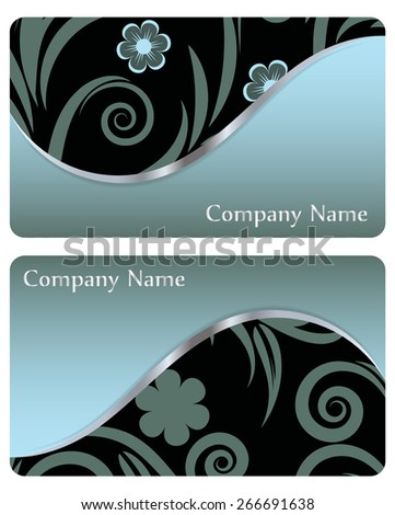 Set of business cards with floral ornament. vector - stock vector