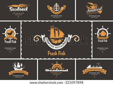 set of business cards with logos on the theme of seafood - stock vector