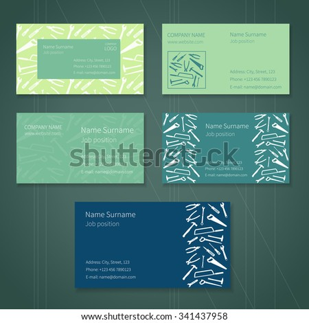 Set of business cards with plane working tools and place for your text. Vector. Colors - white, green and blue. - stock vector