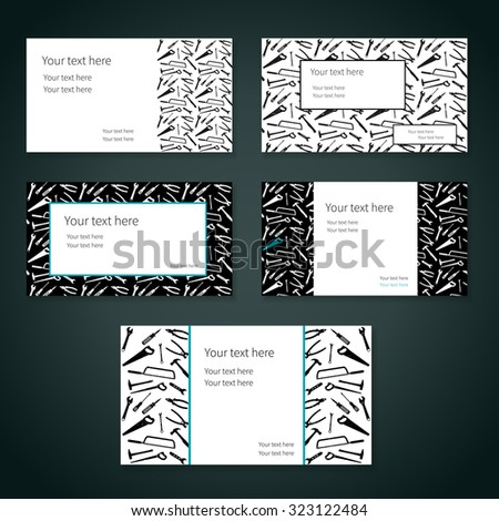 Set of business cards with plane working tools and place for your text. Vector. Three colors - white, black and blue. - stock vector