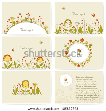 Set of business cards with summer flowers. Vector. - stock vector