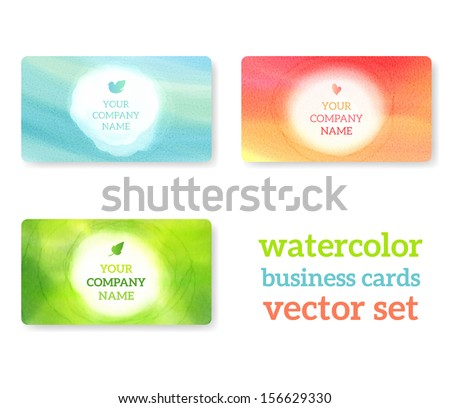 Set of business cards with watercolor background. Vector eps 10 illustration. Watercolor on wet paper. Watercolor composition for business cards with space for company name.  - stock vector