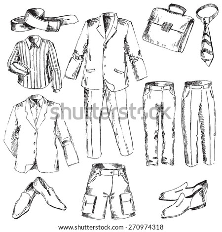 Set of business clothes for men. Pen sketch converted to vectors. - stock vector