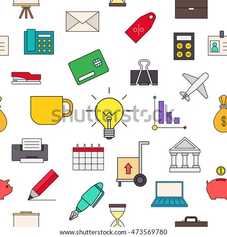 Set of Business colorful pattern icons