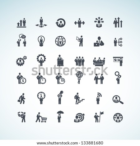 Set of business concept icons - stock vector