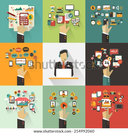 Set of business concept with hands. Freelance infographic with avatar icon. - stock vector