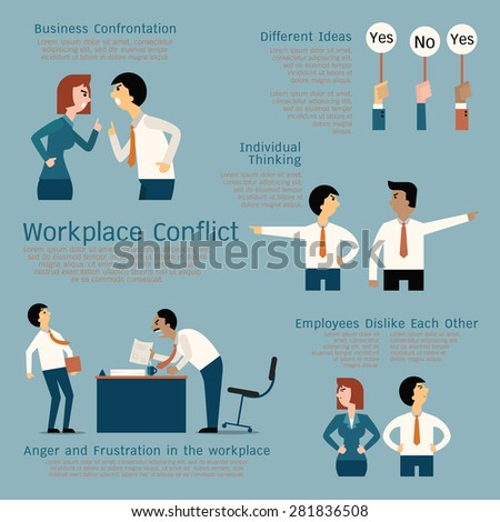 Set of business conflict concept at the workplace, businessman, businesswoman, colleague, team. Flat design.  - stock vector