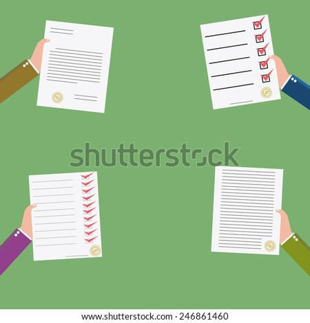 set of  business contract icon - stock vector