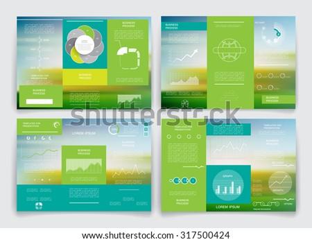 Set of business data visualization, Brochures design 6 - stock vector