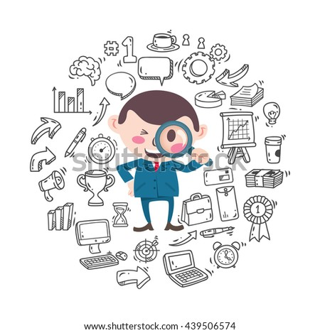 Set of business doodle - stock vector