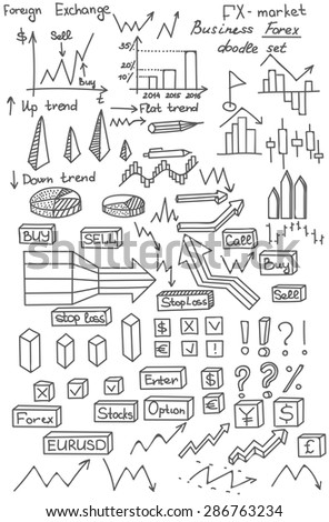 Set of business doodle elements made in vector, Forex market hand drawn icons, Vector background with business, financial data and diagrams, graphs and foreign exchange related elements - stock vector