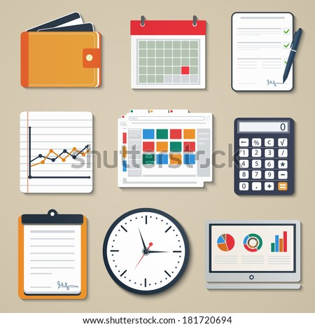 Set of business elements of marketing, reporting, web and mobile design icons - stock vector