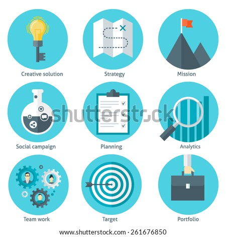 Set of business flat design style colorful vector illustration icons: creative solution, strategy, mission, social campaign, planning, analytics, team work, target, portfolio isolated on white - stock vector
