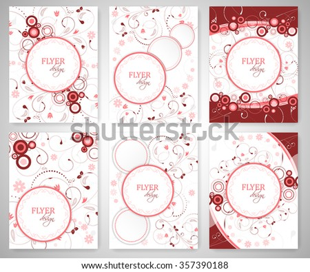 Set of business flyer template or corporate banner with floral pattern and round text box. - stock vector