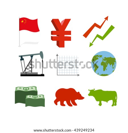 Set of business graphics. Set inographics Chinese market. icons for stock traders. Arrow green and red. Oil derrick. Barrel of petroleum. Chinese money Yen. Much money. Planet Earth. Bull and Bear - stock vector