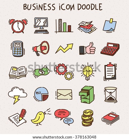 Set of business icon doodle - stock vector