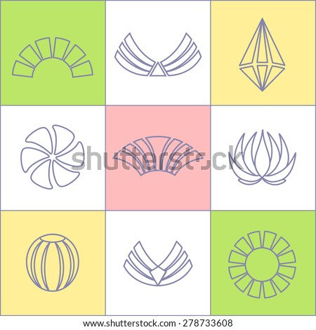 Set of business icons contour Plot on chessboard.Labels, badges and design elements.Business Logo Flat Collection - stock vector